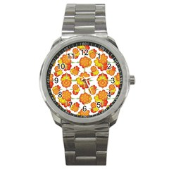 Colorful Stylized Floral Pattern Sport Metal Watch by dflcprints