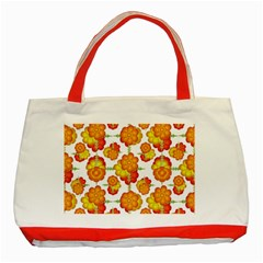 Colorful Stylized Floral Pattern Classic Tote Bag (red) by dflcprints