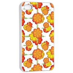 Colorful Stylized Floral Pattern Apple Iphone 4/4s Seamless Case (white) by dflcprints