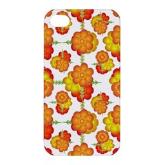 Colorful Stylized Floral Pattern Apple Iphone 4/4s Premium Hardshell Case by dflcprints