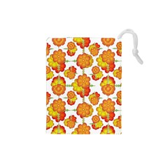 Colorful Stylized Floral Pattern Drawstring Pouches (small)  by dflcprints