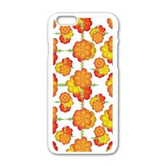 Colorful Stylized Floral Pattern Apple Iphone 6/6s White Enamel Case by dflcprints