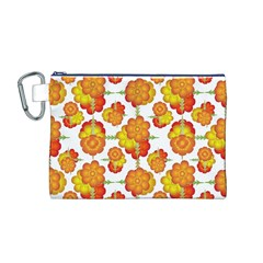Colorful Stylized Floral Pattern Canvas Cosmetic Bag (m) by dflcprints