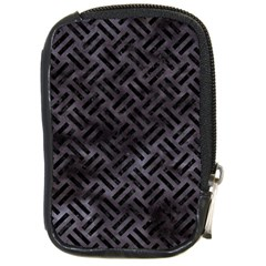 Woven2 Black Marble & Black Watercolor (r) Compact Camera Leather Case by trendistuff