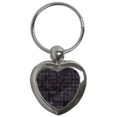 Woven1 Black Marble & Black Watercolor (r) Key Chain (heart) by trendistuff