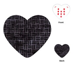 Woven1 Black Marble & Black Watercolor (r) Playing Cards (heart) by trendistuff