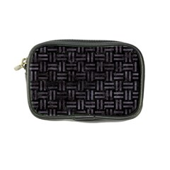 Woven1 Black Marble & Black Watercolor Coin Purse by trendistuff