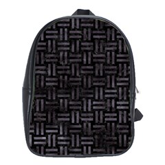 Woven1 Black Marble & Black Watercolor School Bag (xl) by trendistuff