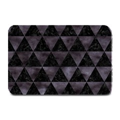 Triangle3 Black Marble & Black Watercolor Plate Mat by trendistuff