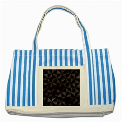Triangle1 Black Marble & Black Watercolor Striped Blue Tote Bag by trendistuff