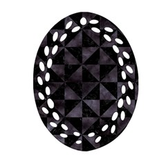 Triangle1 Black Marble & Black Watercolor Oval Filigree Ornament (two Sides) by trendistuff