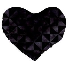 Triangle1 Black Marble & Black Watercolor Large 19  Premium Flano Heart Shape Cushion by trendistuff