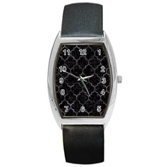 Tile1 Black Marble & Black Watercolor Barrel Style Metal Watch by trendistuff