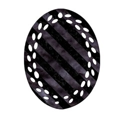 Str3 Bk Mrbl Bk Wclr (r) Oval Filigree Ornament (two Sides) by trendistuff