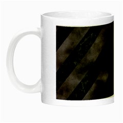 Stripes3 Black Marble & Black Watercolor Night Luminous Mug by trendistuff