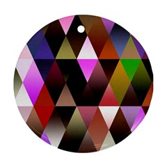 Triangles Abstract Triangle Background Pattern Round Ornament (two Sides) by Simbadda