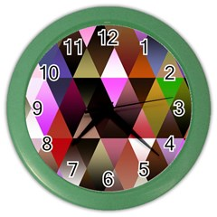 Triangles Abstract Triangle Background Pattern Color Wall Clocks by Simbadda