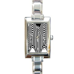Stripe Abstract Stripped Geometric Background Rectangle Italian Charm Watch by Simbadda