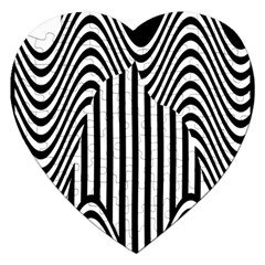 Stripe Abstract Stripped Geometric Background Jigsaw Puzzle (heart) by Simbadda