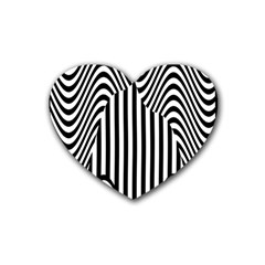 Stripe Abstract Stripped Geometric Background Rubber Coaster (heart)  by Simbadda