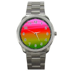 Watercolour Abstract Paint Digitally Painted Background Texture Sport Metal Watch by Simbadda
