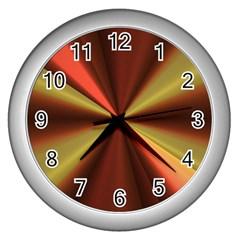 Copper Beams Abstract Background Pattern Wall Clocks (silver)  by Simbadda