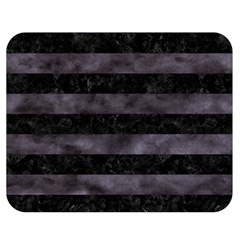 Stripes2 Black Marble & Black Watercolor Double Sided Flano Blanket (medium) by trendistuff