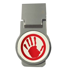 Bloody Handprint Stop Emob Sign Red Circle Money Clips (round)  by Mariart
