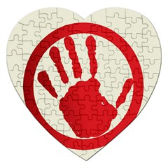 Bloody Handprint Stop Emob Sign Red Circle Jigsaw Puzzle (heart) by Mariart