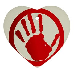 Bloody Handprint Stop Emob Sign Red Circle Heart Ornament (two Sides) by Mariart