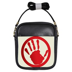 Bloody Handprint Stop Emob Sign Red Circle Girls Sling Bags by Mariart