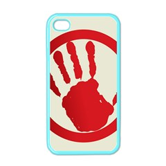 Bloody Handprint Stop Emob Sign Red Circle Apple Iphone 4 Case (color) by Mariart