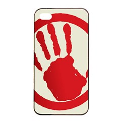 Bloody Handprint Stop Emob Sign Red Circle Apple Iphone 4/4s Seamless Case (black) by Mariart