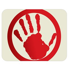 Bloody Handprint Stop Emob Sign Red Circle Double Sided Flano Blanket (medium)  by Mariart