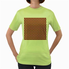 Brick Line Red White Women s Green T Shirt by Mariart