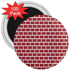Brick Line Red White 3  Magnets (100 Pack) by Mariart