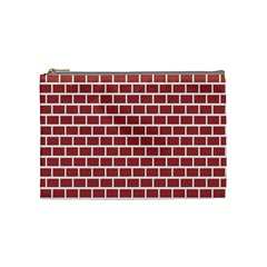 Brick Line Red White Cosmetic Bag (medium)  by Mariart