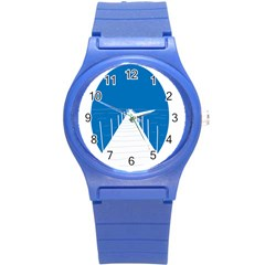 Bridge Sea Beack Blue White Round Plastic Sport Watch (s) by Mariart
