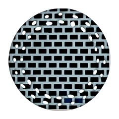 Bricks Black Blue Line Round Filigree Ornament (two Sides) by Mariart