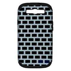 Bricks Black Blue Line Samsung Galaxy S Iii Hardshell Case (pc+silicone) by Mariart