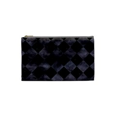 Square2 Black Marble & Black Watercolor Cosmetic Bag (small) by trendistuff