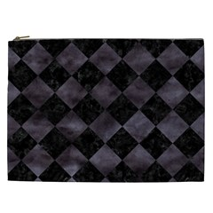 Square2 Black Marble & Black Watercolor Cosmetic Bag (xxl) by trendistuff