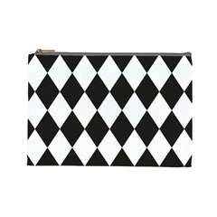 Broken Chevron Wave Black White Cosmetic Bag (large)  by Mariart