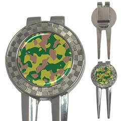 Camouflage Green Yellow Brown 3 In 1 Golf Divots by Mariart