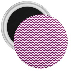 Chevron Wave Purple White 3  Magnets by Mariart
