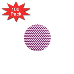 Chevron Wave Purple White 1  Mini Magnets (100 Pack)  by Mariart