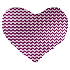 Chevron Wave Purple White Large 19  Premium Flano Heart Shape Cushions by Mariart
