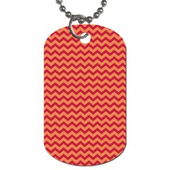 Chevron Wave Red Orange Dog Tag (two Sides) by Mariart