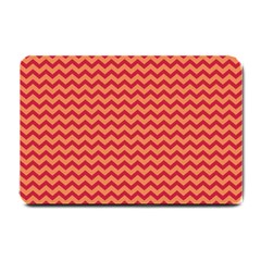 Chevron Wave Red Orange Small Doormat  by Mariart