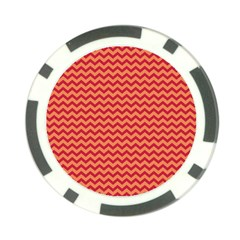 Chevron Wave Red Orange Poker Chip Card Guard by Mariart